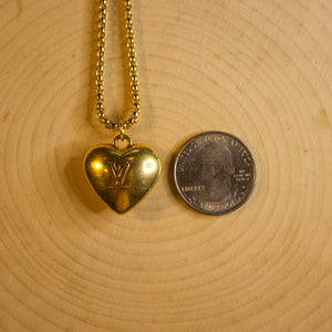 Repurposed Gold Louis Vuitton Heart Charm Necklace