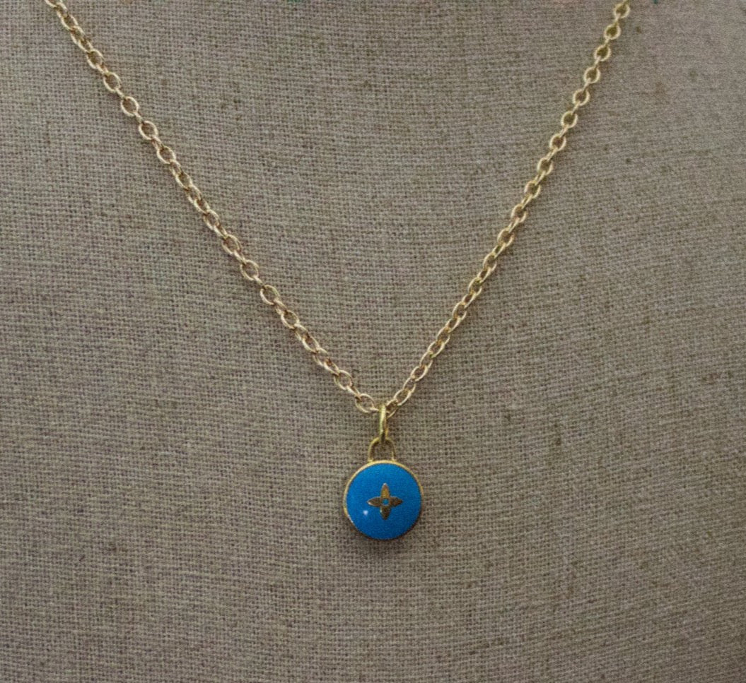 Repurposed Blue Louis Vuitton Star Charm Necklace