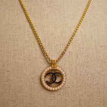 Load image into Gallery viewer, Repurposed Pearl Circled Black Chanel CC Button Necklace