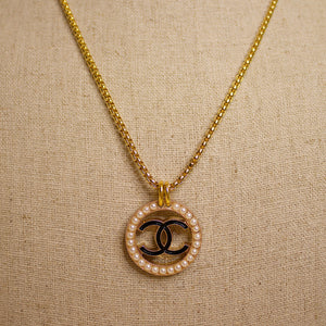 Repurposed Pearl Circled Black Chanel CC Button Necklace