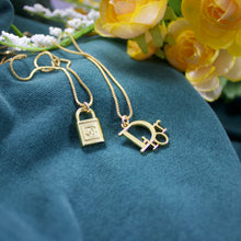 Load image into Gallery viewer, Repurposed Chanel Lock Button Necklace