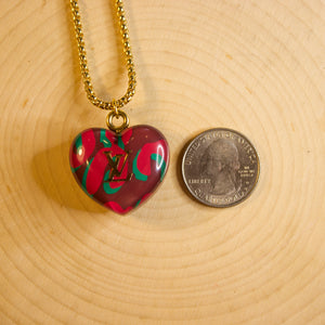 Repurposed Louis Vuitton Camo Heart Charm Necklace