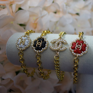 Repurposed Red Chanel Button Bracelet
