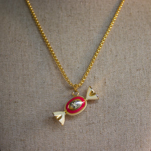 Repurposed Red Louis Vuitton Candy Charm Necklace