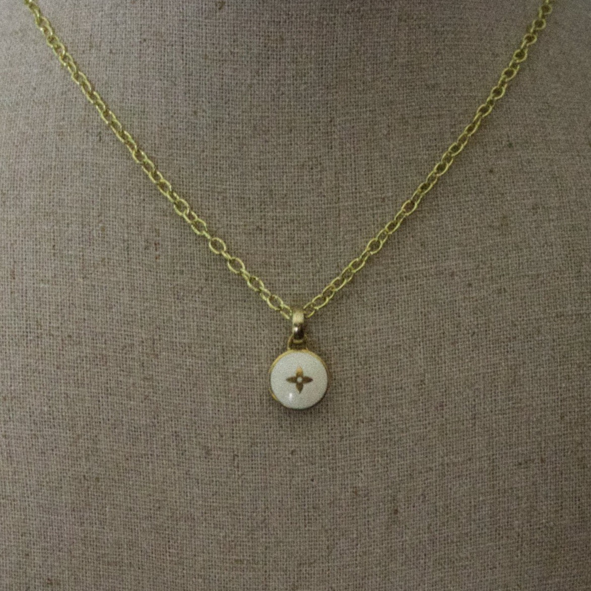 Repurposed White Louis Vuitton Star Charm Necklace