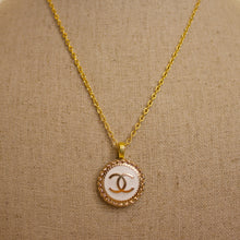 Load image into Gallery viewer, Repurposed White Circle Chanel CC Button Necklace