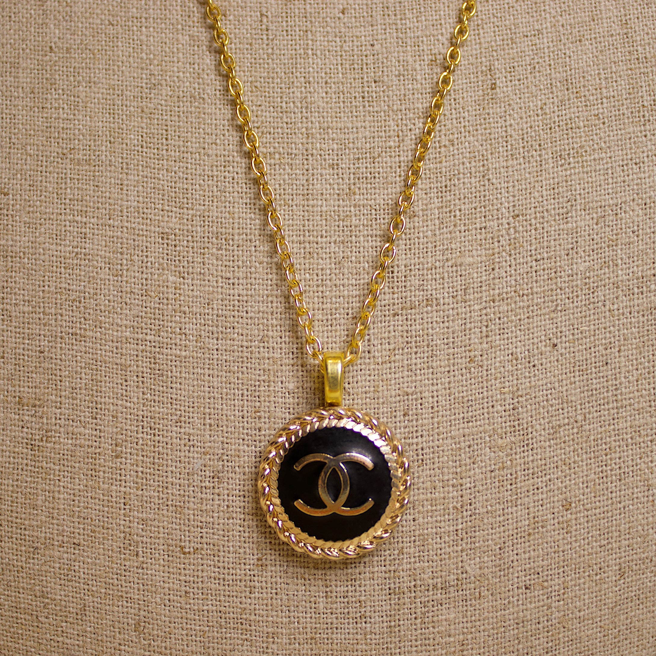 Repurposed Black Circle Chanel CC Button Necklace