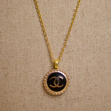 Load image into Gallery viewer, Repurposed Black Circle Chanel CC Button Necklace