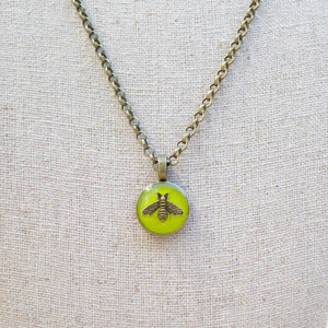Repurposed Green Gucci Bee Button Necklace