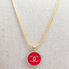 Load image into Gallery viewer, Repurposed Red Chanel Button Necklace