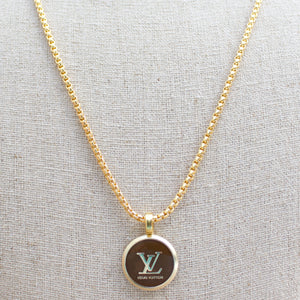 Repurposed Brown Round Louis Vuitton Button Necklace