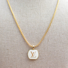 Load image into Gallery viewer, Repurposed White Rectangular Louis Vuitton Button Necklace