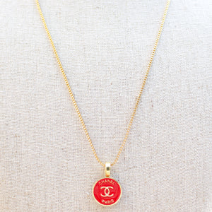 Repurposed Red Chanel Paris Button Necklace