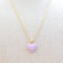 Load image into Gallery viewer, Repurposed Purple Chanel Heart Button Necklace