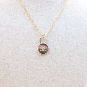 Repurposed Gold Tone Chanel Lock Button Necklace