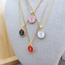 Load image into Gallery viewer, Repurposed Pink Chanel Paris Button Necklace