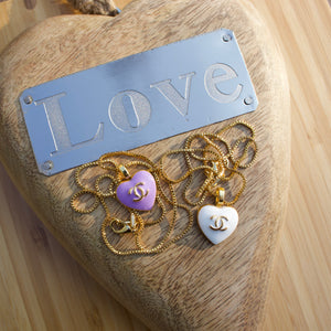 Repurposed Purple Chanel Heart Button Necklace