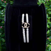 Load image into Gallery viewer, Repurposed Gold Tone Chanel Button Beaded Bracelet