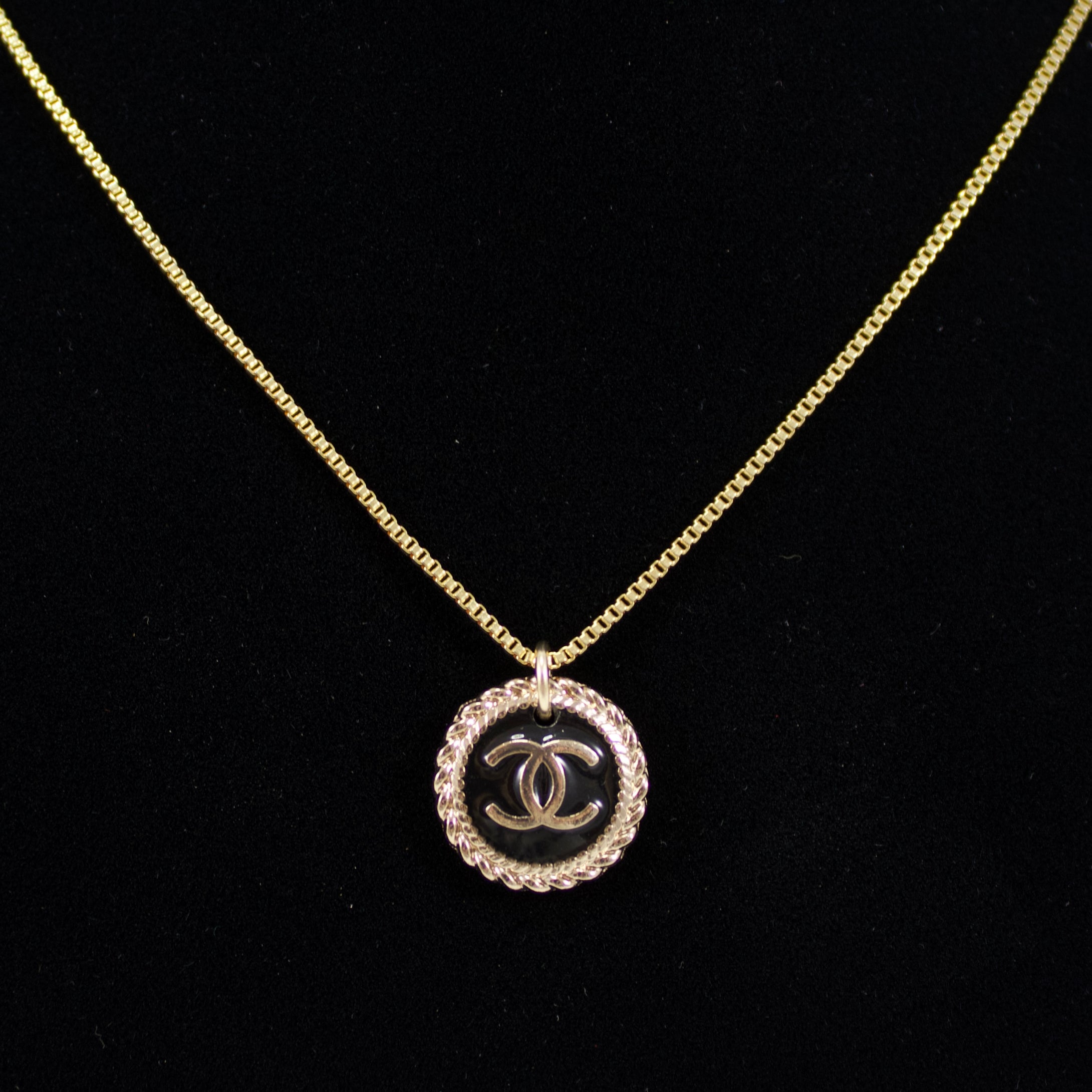 Repurposed Black And Gold Chanel CC Button Necklace