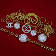 Load image into Gallery viewer, Repurposed White And Gold Chanel CC Button Necklace