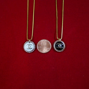 Repurposed White And Gold Chanel CC Button Necklace