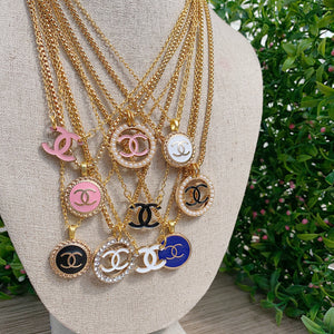 Repurposed White Chanel CC Button Necklace