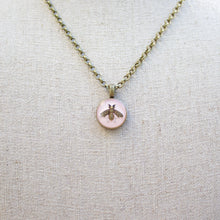 Load image into Gallery viewer, Repurposed Light Pink Gucci Bee Button Necklace