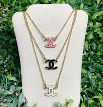 Load image into Gallery viewer, Repurposed Pink Chanel CC Button Necklace
