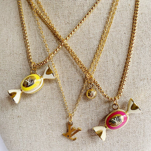 "Repurposed Gold Louis Vuitton ""LV"" Charm Necklace"