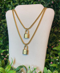 Repurposed Gold Louis Vuitton Lock Charm Necklace