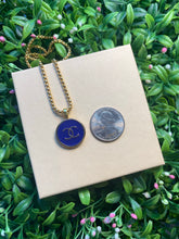 Load image into Gallery viewer, Repurposed Navy Blue Circle Chanel CC Button Necklace