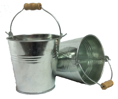 Tin Bucket with Wooden Handle - Buy one get one FREE!