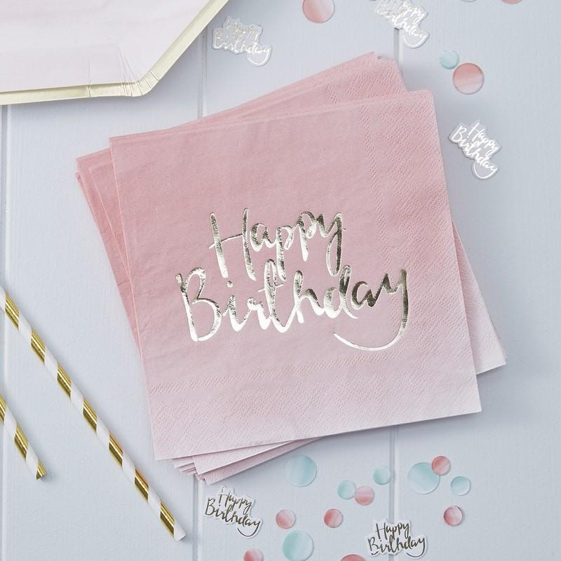 Serviettes Happy Birthday Rose & Or - Ginger Ray - Cuppin's