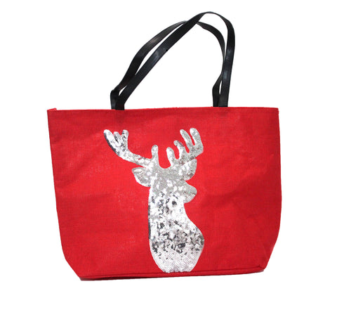 Sliver Deer Linen Bag - Red
