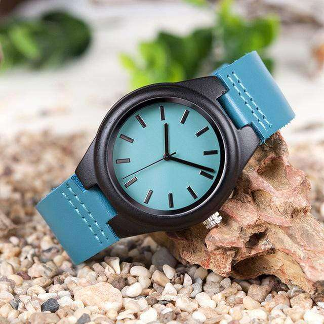 Couple's Matching Ebony Wood Quartz Watch