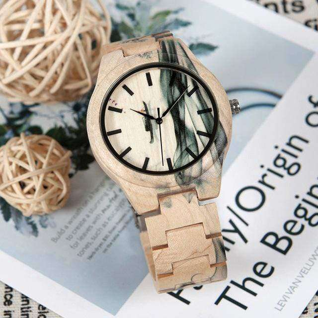 Men's Maple Wood Watch with Ink Painting Design