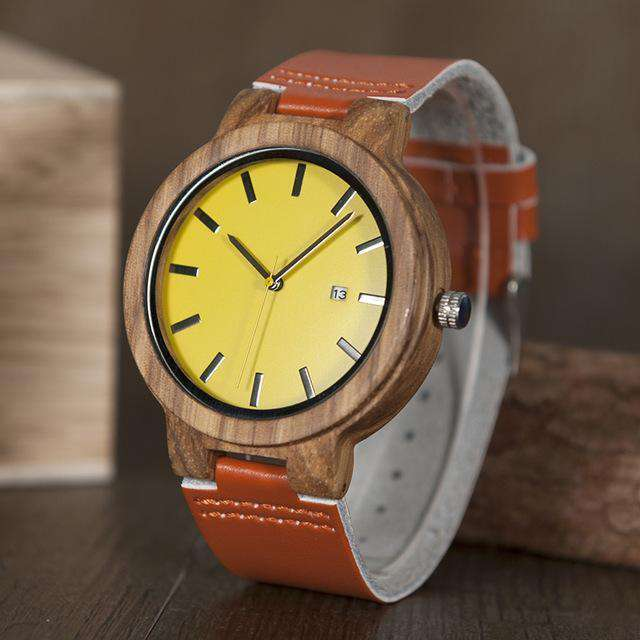 Men's Classic Wood Watch with Leather Band