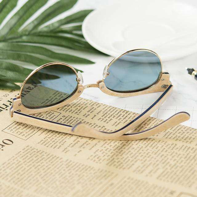 Semi Rimless Pink and Gold Bamboo Sunglasses