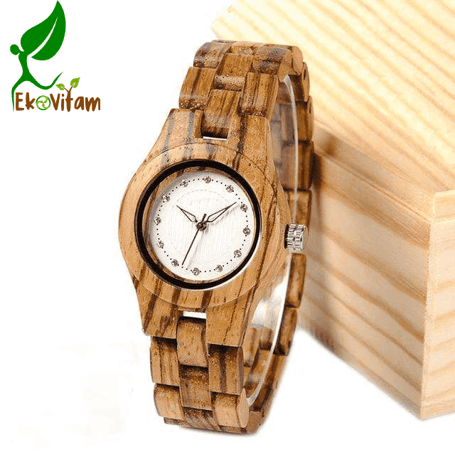 Women's Zebra Wood Watch