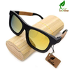 Dual Tone Black and Natural Bamboo Sunglasses - Choice of Green, Blue and Yellow lens