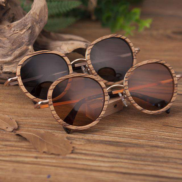 Vintage Oversized Round Wooden Sunglasses