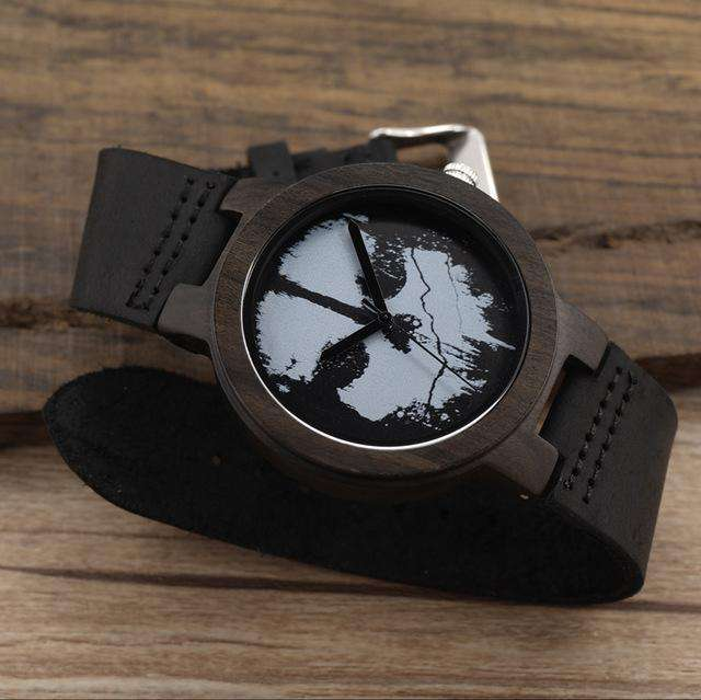 Black Ebony Wood Watch with Skull and Leather Strap