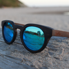 Black Tea Shade Mirror Lens Wooden Sunglasses