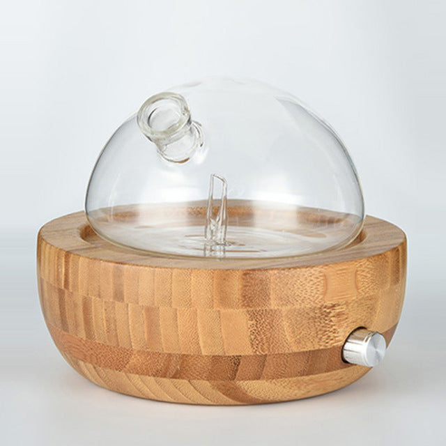 Waterless Nebulizing Essential Oil Diffuser with Beech Wood Base and Glass Bulb