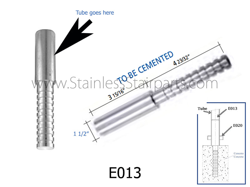 E013 Stainless Steel Tube and Railing Core Floor Anchor