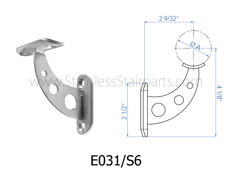 E031/S6 Stainless Steel Rigid Handrail Support