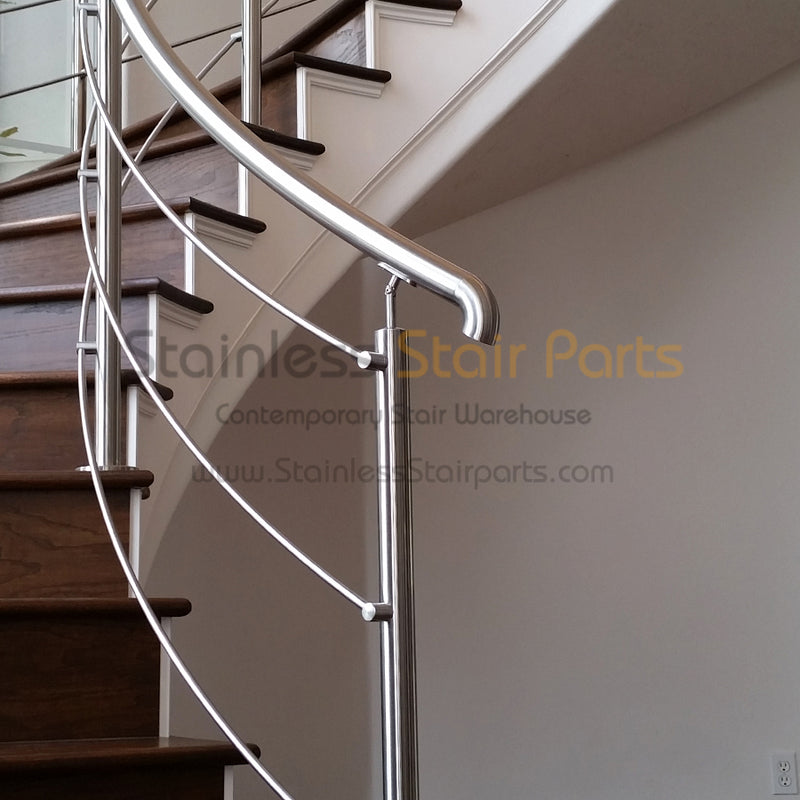 Angled stainless steel handrail support