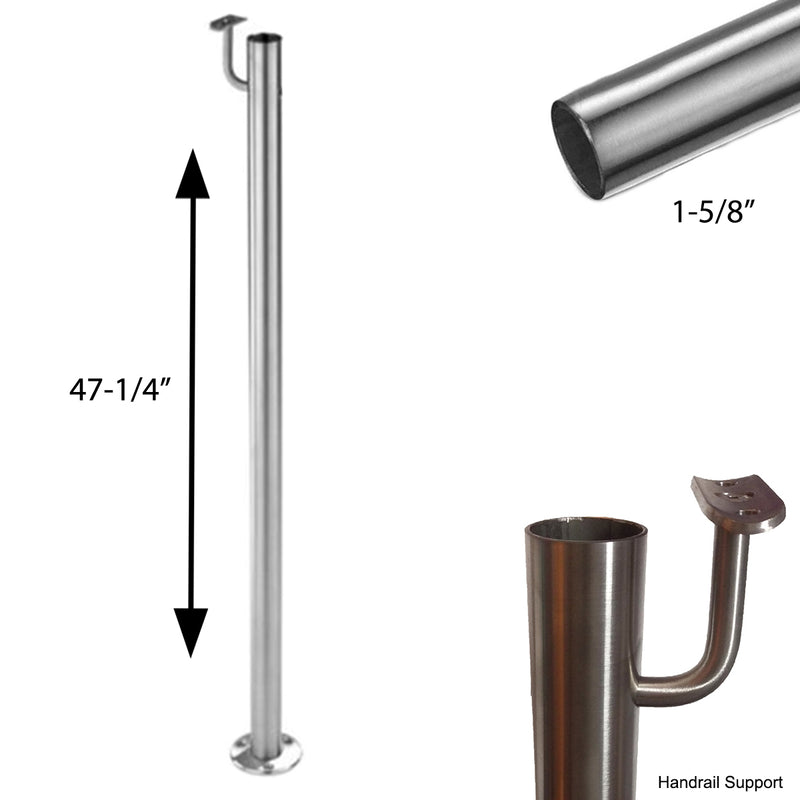 E0041 Stainless Steel Floor Mount Post with Railing Support