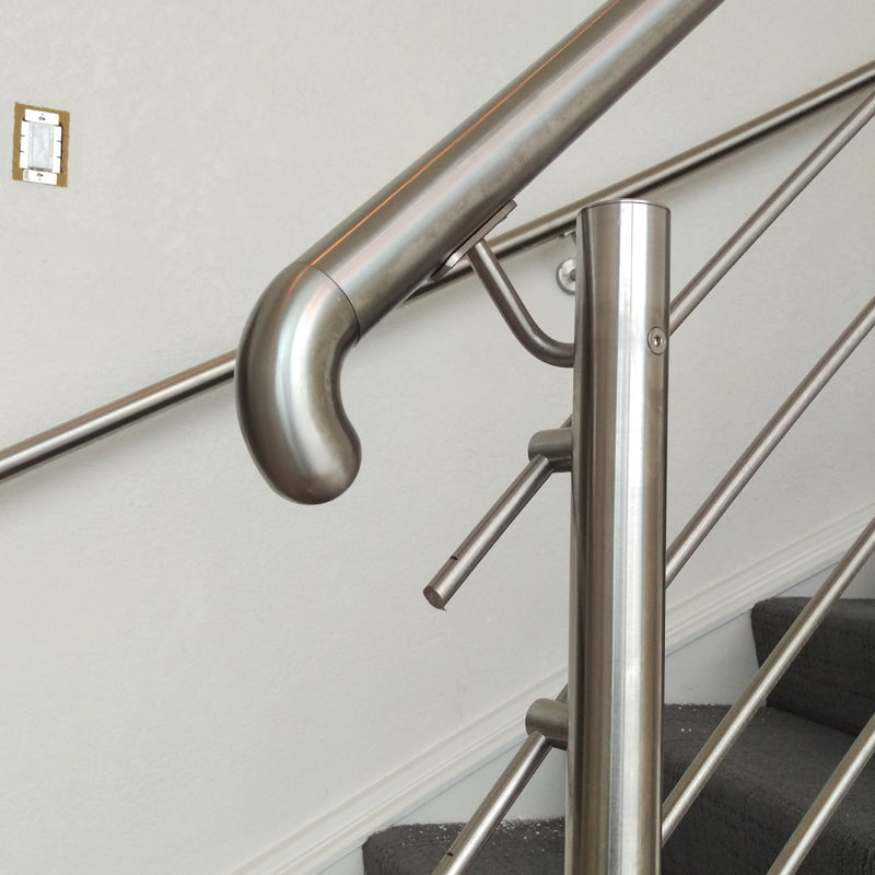 Stainless Steel Floor Mount Newel Post with Railing Support