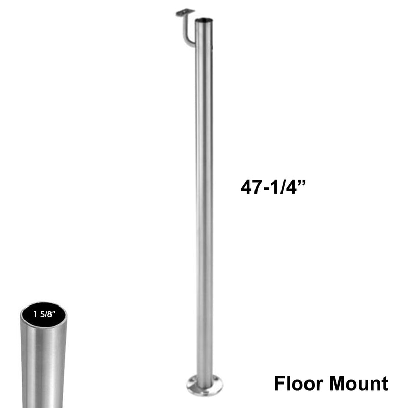 E0041 Stainless Steel Floor Mount Newel Post with Railing Support
